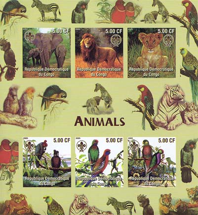 Congo Animals & Minerals Imperf