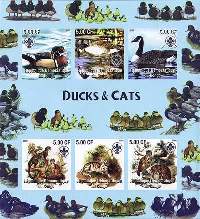 Congo Ducks & Cats Imperf