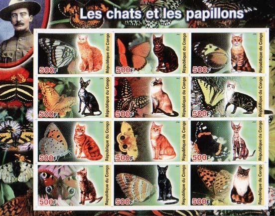 Congo Cat & Butterflies Imperf