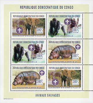 Congo Gorilla Elephant Hippo 6v