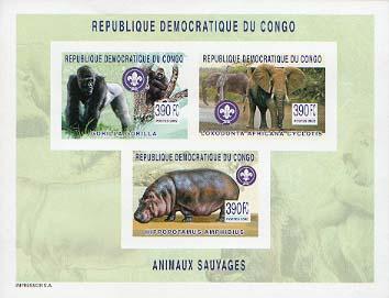 Congo Gorilla Elephant Hippo Imperf